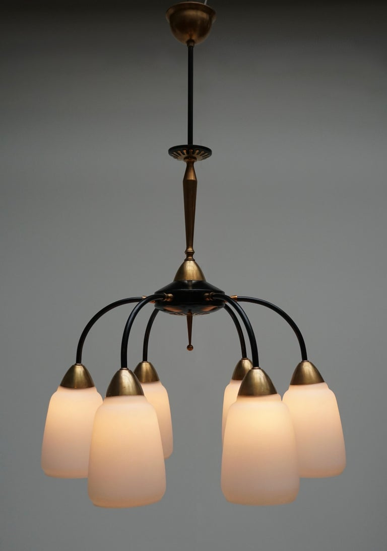 Mid-Century Modern Vintage 1950s Italian Brass and Glass Chandelier For Sale