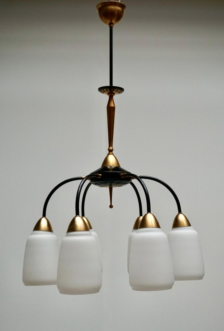 Vintage 1950s Italian Brass and Glass Chandelier In Good Condition For Sale In Antwerp, BE