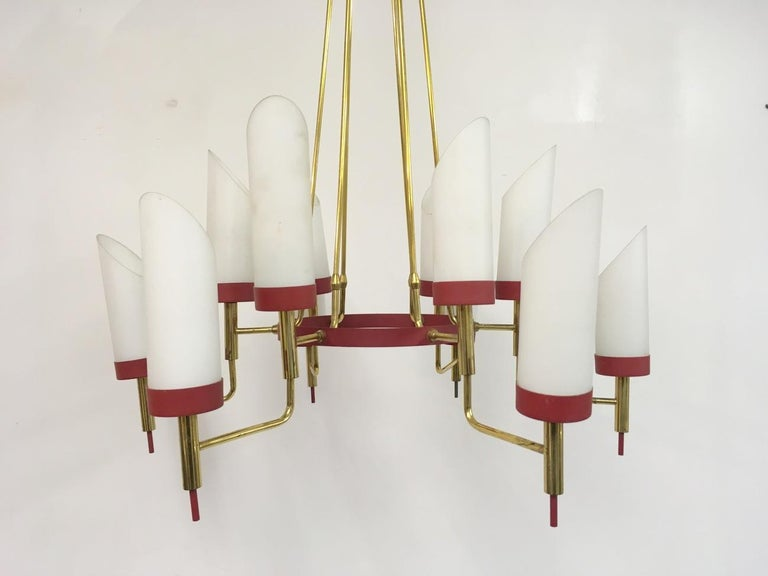 20th Century Vintage 1950s Italian Brass and White Glass Chandelier For Sale