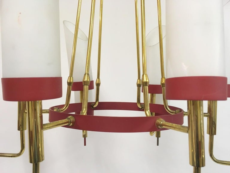 Vintage 1950s Italian Brass and White Glass Chandelier For Sale 2