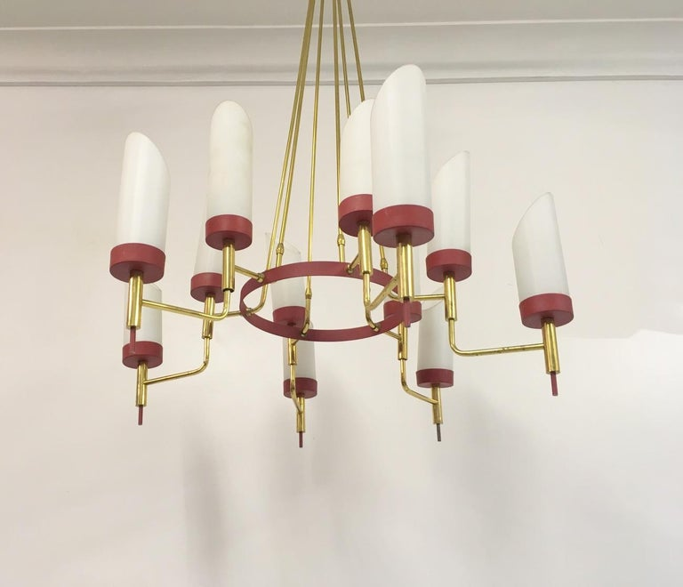 Vintage 1950s Italian Brass and White Glass Chandelier For Sale 3