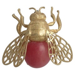 Vintage 1950s Italian Rose Quartz and Yellow Gold 'Bumblebee' Brooch