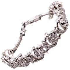 Vintage 1950's Jabel 18K White Gold Add-A-Section Diamond Bracelet 1.76ct