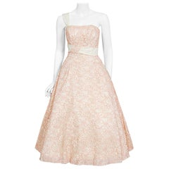 Vintage 1950's Jacques Heim Haute Couture Pink and White Lace One-Shoulder Dress
