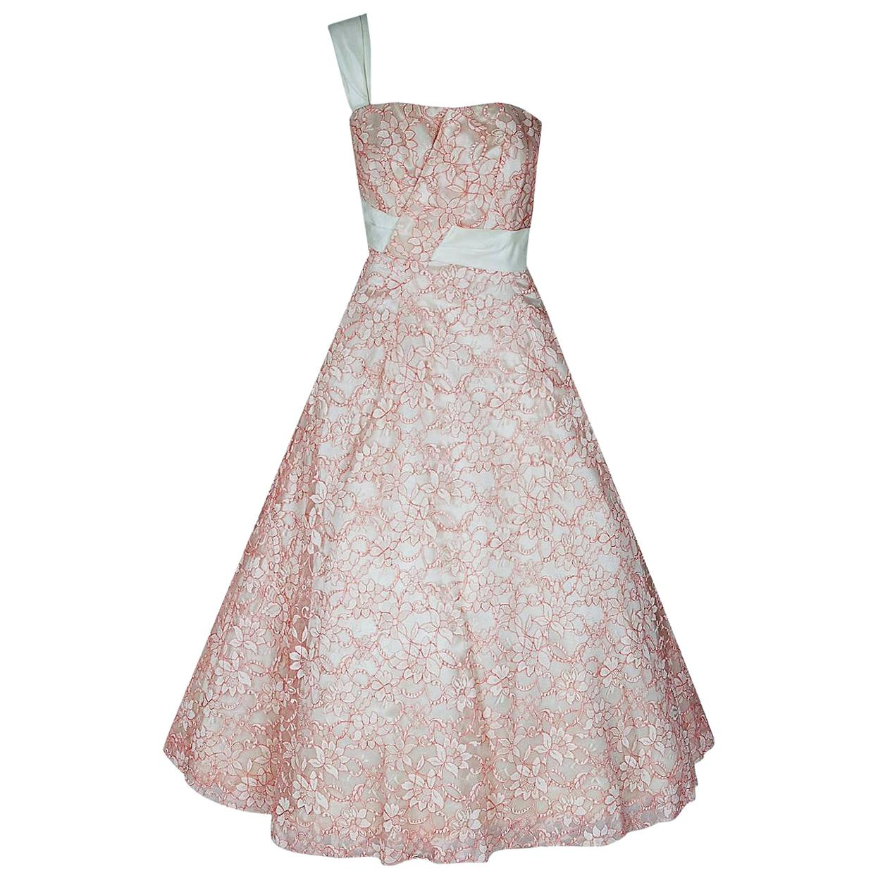 Vintage 1950's Jacques Heim Haute Couture Pink & White Lace One-Shoulder Dress