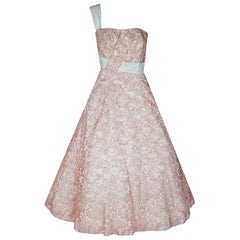 Vintage 1950's Jacques Heim Haute Couture Pink & White Lace One-Shoulder Dress