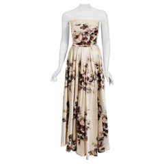 Vintage 1950's Jeanne Lafaurie Couture Watercolor Floral Silk Strapless Gown