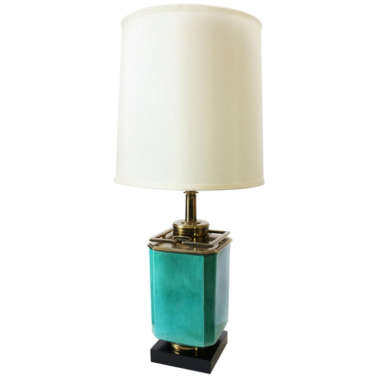 Vintage 1950s Large Turquoise and Brass Table Lamp by Edwin Cole for Stiffel For Sale