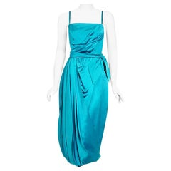 Vintage 1950's Lee Claire Aqua-Blue Silk Ruched Asymmetric Draped Cocktail Dress