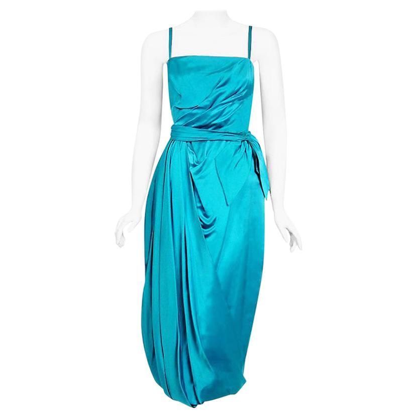 Vintage 1950's Lee Claire Aqua-Blue Silk Ruched Asymmetric Draped Cocktail Dress