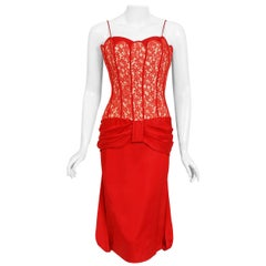 Vintage 1950's Lilli Diamond Red Silk and Lace Illusion Draped Fishtail Dress