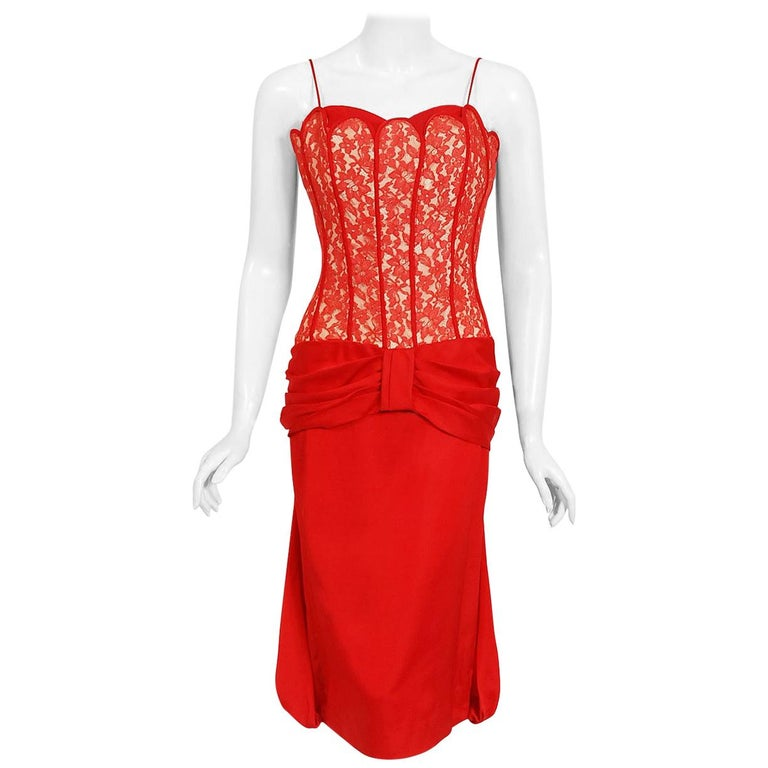Vintage 1950's Lilli Diamond Red Silk and Lace Illusion Draped Fishtail Dress For Sale