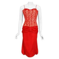 Vintage 1950's Lilli Diamond Red Silk and Lace Illusion Draped Fishtail Dress
