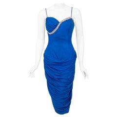 Vintage 1950's Lilli Diamond Sapphire Blue Chiffon Rhinestone Draped Dress