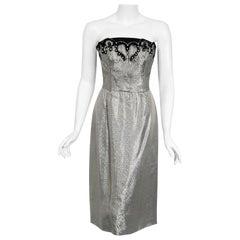 Vintage 1950's Lilli Diamond Silver Lamé Beaded Strapless Dress & Swing Jacket