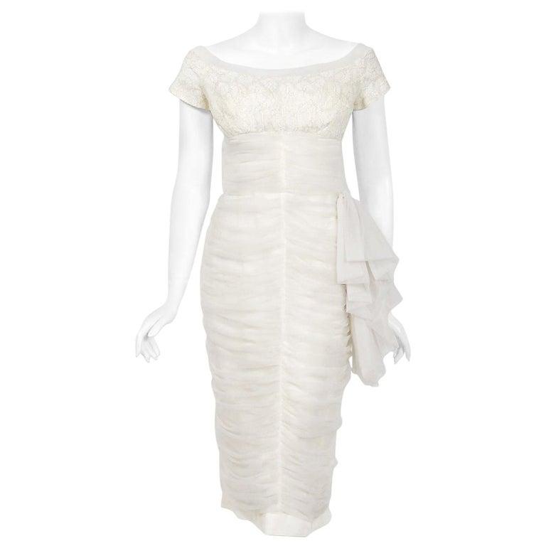 Vintage 1950's Lilli Diamond White Chiffon & Metallic Lace Ruched Cocktail Dress For Sale
