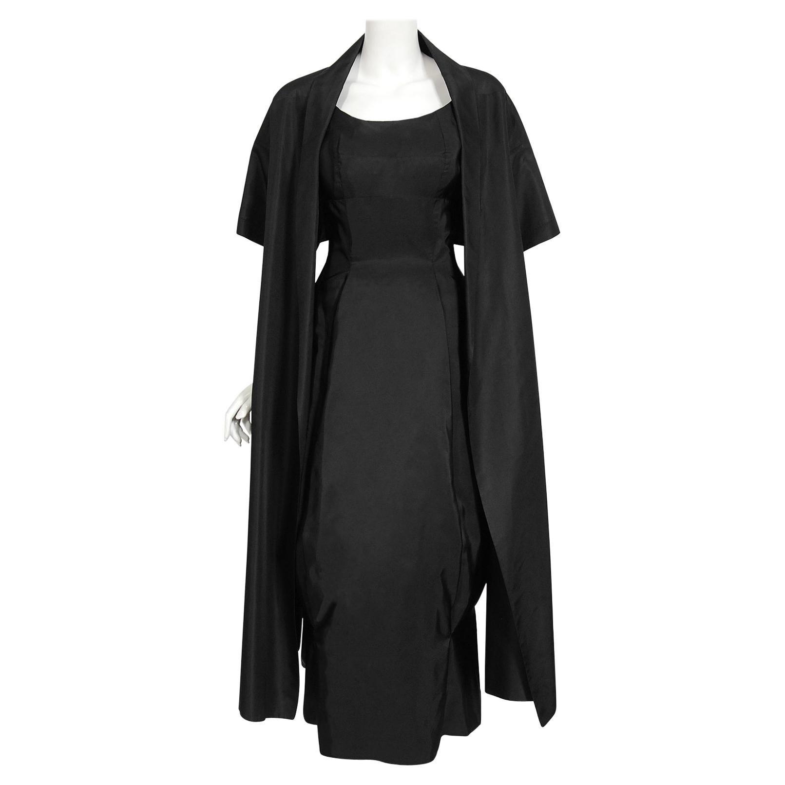 Vintage 1950's Madame Grès Haute Couture Sculpted Silk Back-Bow Dress & Jacket