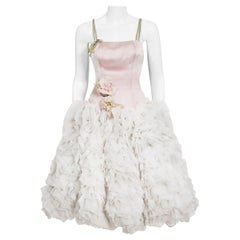 Vintage 1950's Mandell Couture Pink Silk & White Chiffon Ruffle-Cloud Dress