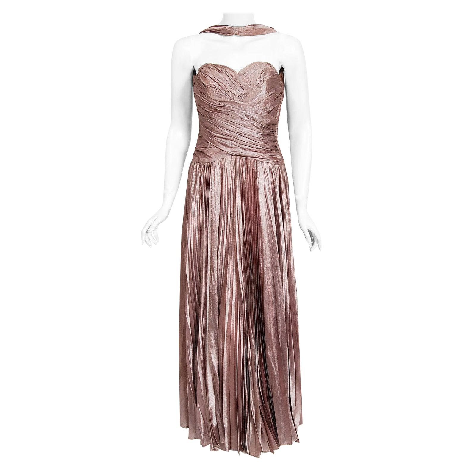 Vintage 1950's Marjon Couture Mauve Purple Silk Reverse-Halter Pleated Gown