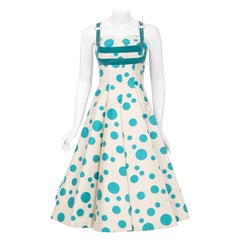 Vintage 1950's Marlene Blue Polka Dot Print Cotton Shelf-Bust Circle Skirt Dress