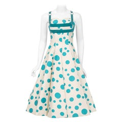 Vintage 1950's Marlene Blue Polka Dot Print Cotton Shelf-Bust Circle Skirt Dress
