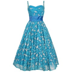 Vintage 1950's Metallic Leaves Embroidered Blue Chiffon Sash-Bow Party Dress
