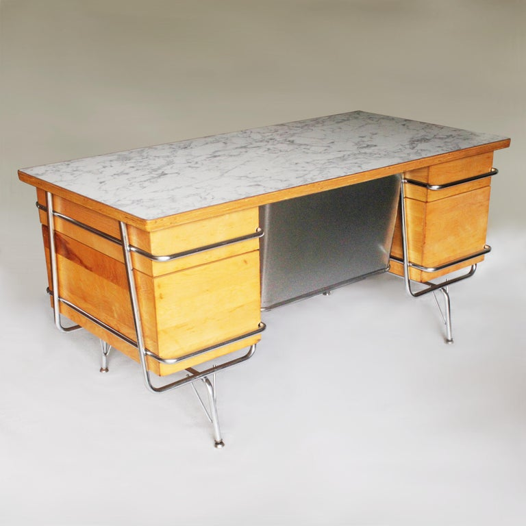 American Vintage 1950s Mid-Century Modern Industrial Trimline Executive Desk by KEM Weber For Sale