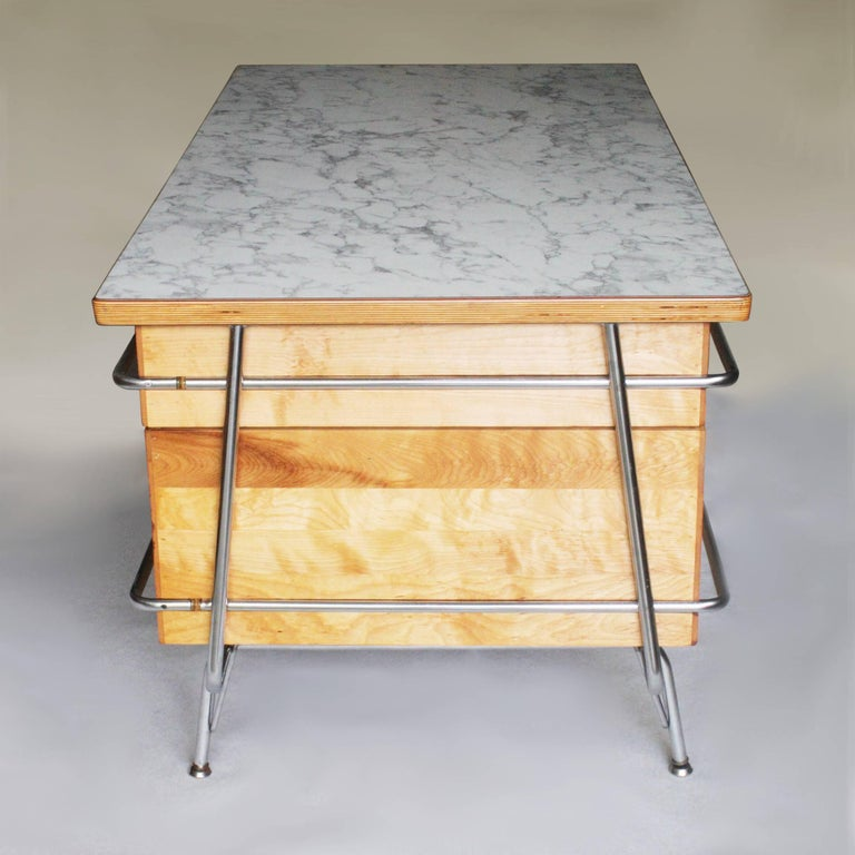 Mid-20th Century Vintage 1950s Mid-Century Modern Industrial Trimline Executive Desk by KEM Weber For Sale