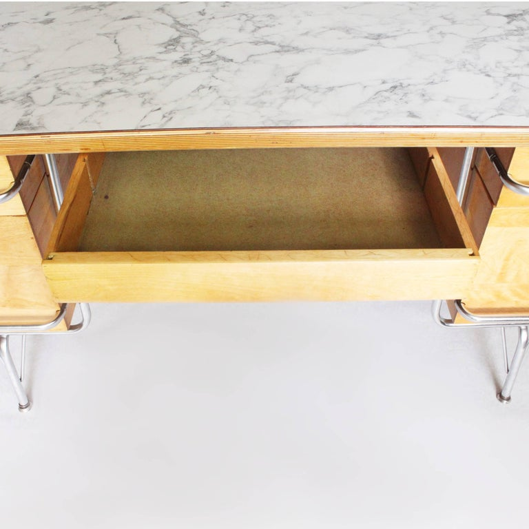 Chrome Vintage 1950s Mid-Century Modern Industrial Trimline Executive Desk by KEM Weber For Sale