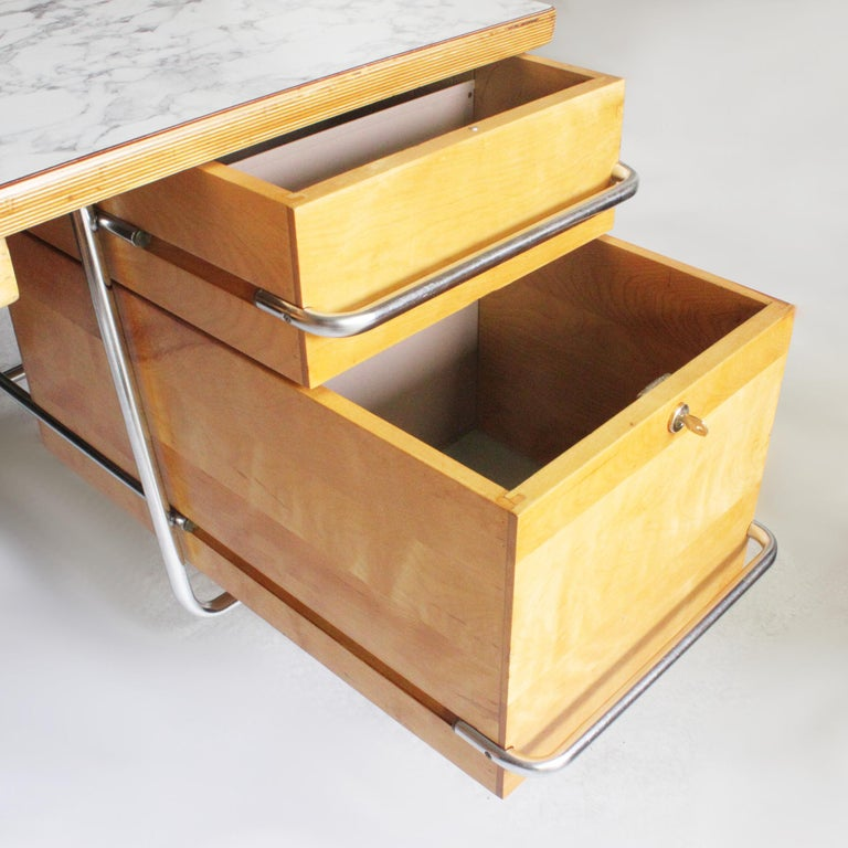 Vintage 1950s Mid-Century Modern Industrial Trimline Executive Desk by KEM Weber For Sale 1