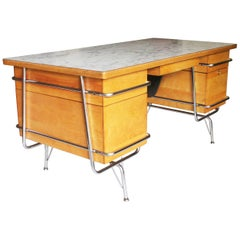 Vintage 1950s Mid-Century Modern Industrial Trimline Executive Desk by KEM Weber