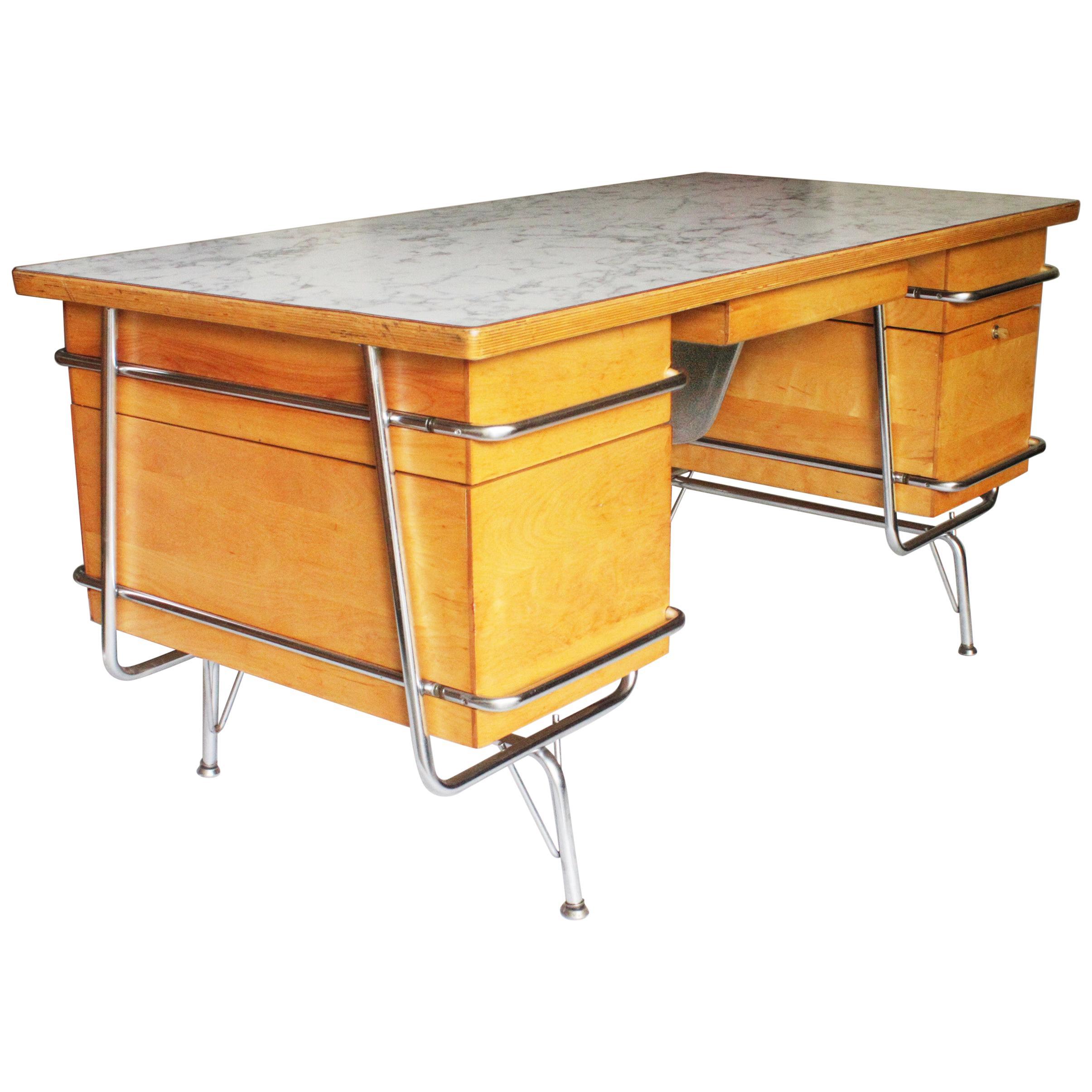 Vintage 1950s Mid Century Modern Industrial Trimline Executive Desk By KEM  Weber