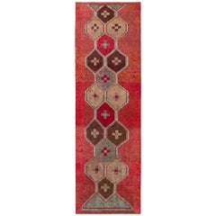 Vintage 1950s Midcentury Kilim Red Runner Beige-Brown Blue Embroidery Pattern