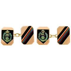 Vintage 1950s Military Interest Cufflinks in Rose Gold and Enamel