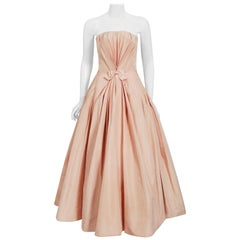 Vintage 1950's Mingolini Guggenheim Couture Pink Pleated Silk Strapless Gown