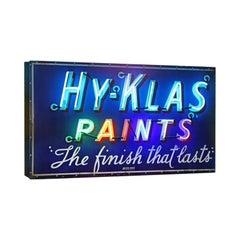 Vintage 1950s Neon 'Hy-Klas Paints' Sign