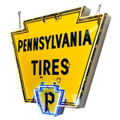 Vintage 1950s Neon 'Pennsylvania Tires' Sign