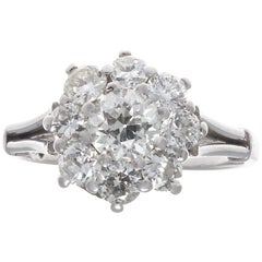 Vintage 1950s Old European Cut Diamond Platinum Cluster Ring