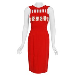 Vintage 1950's Oleg Cassini Red Linen and Polka-Dot Silk Cut Out Hourglass Dress