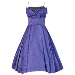 Vintage 1950's Pab Couture Lilac Purple Rhinestone Beaded Silk Shelf-Bust Dress
