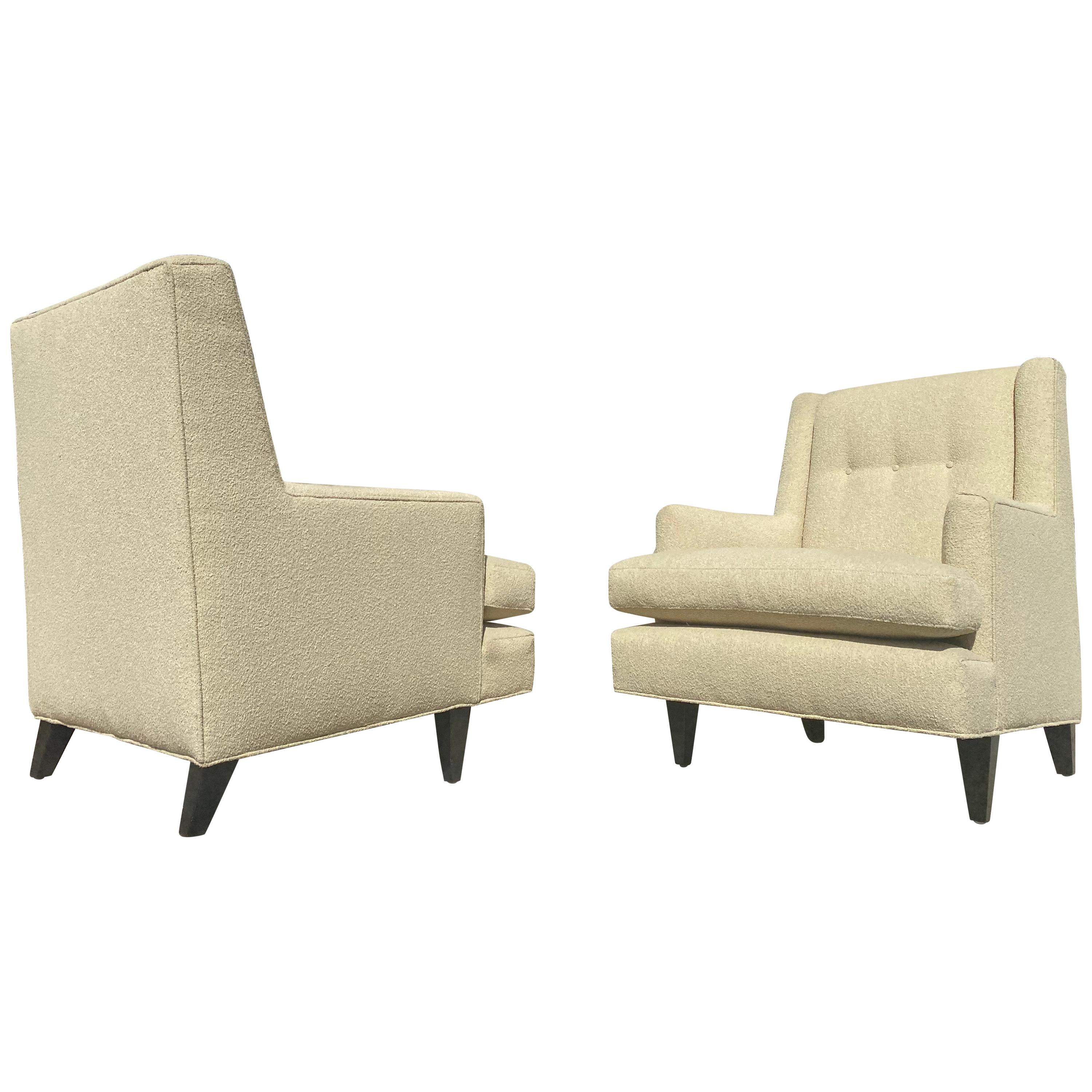 Vintage 1950s Pair of Tufted Armchairs by Edward Wormley for Dunbar Furniture