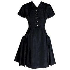 Vintage 1950's Pauline Trigere Black Silk Sculpted Pockets 'New Look' Full Dress