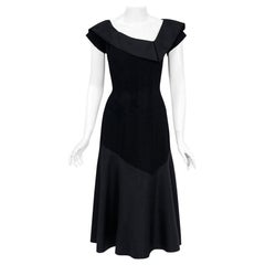 Vintage 1950's Pauline Trigere Black Wool and Silk Asymmetric Flounce Dress