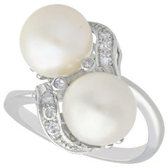 Vintage 1950s Pearl and Diamond White Gold Cocktail Ring