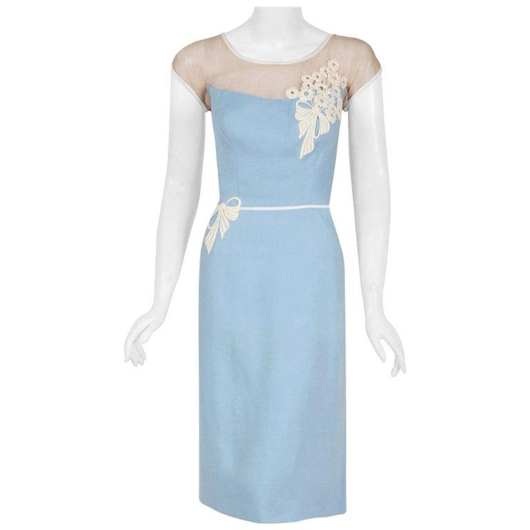 Vintage 1950's Peggy Hunt Baby-Blue Linen Applique Illusion Hourglass Dress For Sale