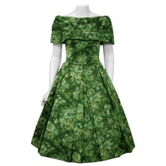 Vintage 1950's Peggy Hunt Green Floral Silk Portrait-Collar Pleated Dress