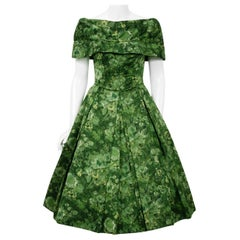 Vintage 1950's Peggy Hunt Green Floral Silk Portrait-Collar Pleated Full Dress