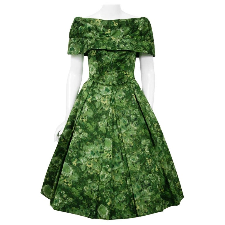 Vintage 1950's Peggy Hunt Green Floral Silk Portrait-Collar Pleated Full Dress  For Sale