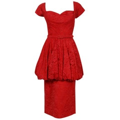 Vintage 1950's Perdieu Cherry-Red Lace Sweetheart Belted Peplum Cocktail Dress