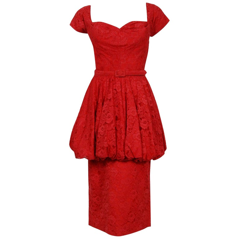 Vintage 1950's Perdieu Cherry-Red Lace Sweetheart Belted Peplum Cocktail Dress  For Sale